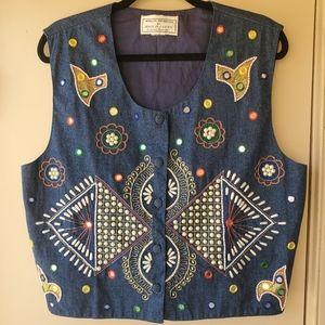 Vintage Beaded Embroidered Mirror Jean Vest